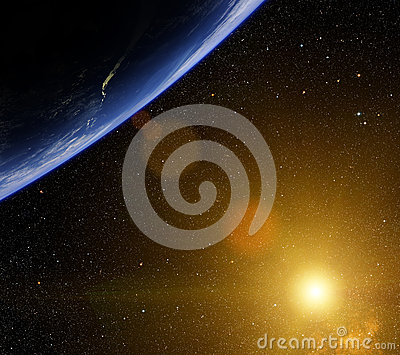 Planet with bright star.