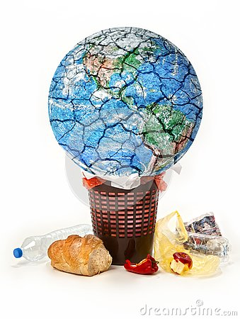Free Planet Destroying Conceptual Picture, Planet Earth Is Trown Into Garbage, Deiscarded Food, Waste Stock Images - 127837434