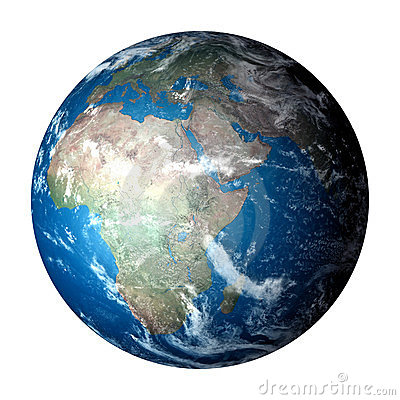 Photo realistic planet Earth isolated on white Stock Photo