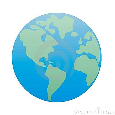Planet Earth America; green & blue vector isolated