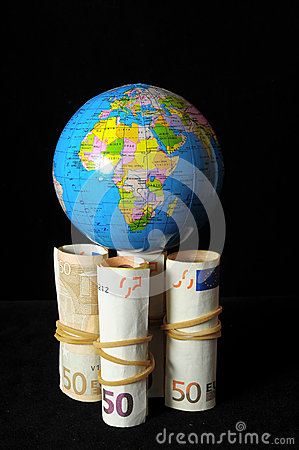 Free Planet Earth And Rolled Money Stock Image - 33759001