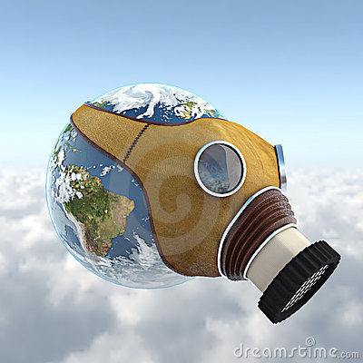 Planet earth with anti gaz mask