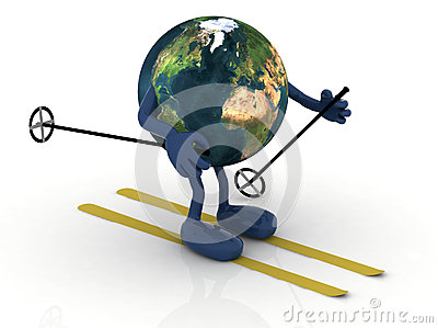 Planet earth with arms and legs, ski and stick