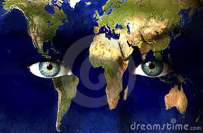 Planet earth and blue eyes
