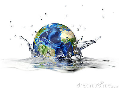 Planet Earth, falling into clear water, splashing.