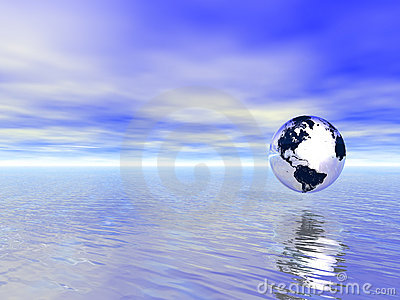 Planet earth globe over blue ocean