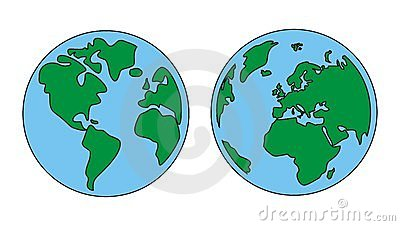Planet Earth green and blue vector isolated