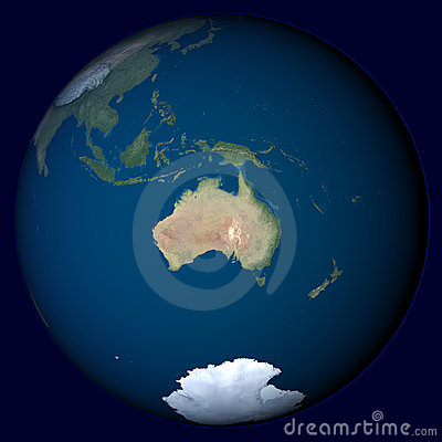 Planet Earth with highlight in Australia