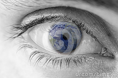 Planet Earth in human eye