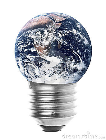 Free Planet Earth Light Bulb Isolated Royalty Free Stock Photo - 13478285