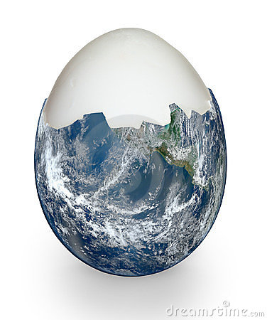 Planet earth like egg shell