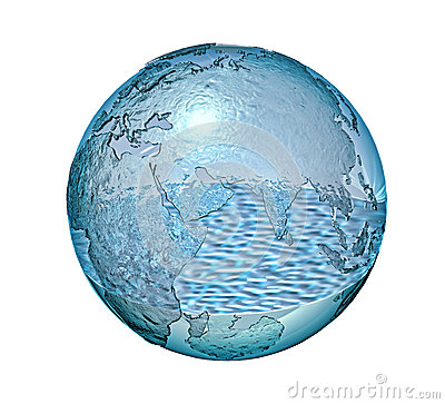Planet Earth made of glass with a some water inside.