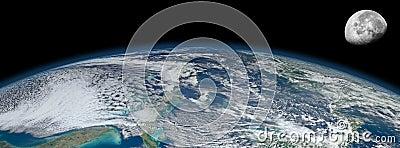 Planet Earth moon orbiting