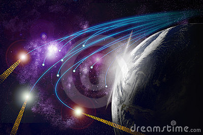 Planet earth, optical fibres, data transmiss