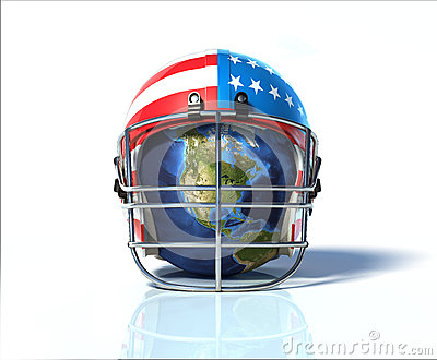 Planet Earth protected by an American football helmet, painted w