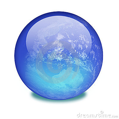 Planet earth on a shiny marble