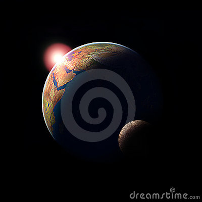Planet earth sun and moon