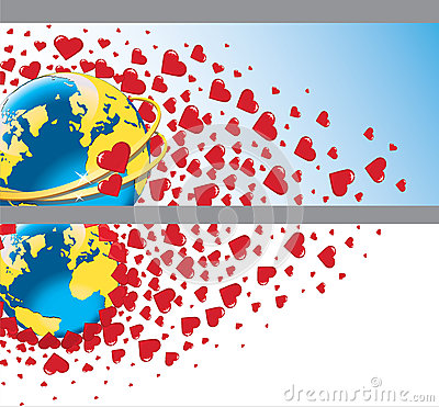 Planet earth with wedding rings and flying hearts.