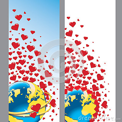 Planet earth with wedding rings and hearts.Vector