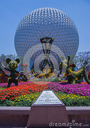 Free Planet Earth With Flowers & Disney Characters - Epcot Center Stock Photos - 93450883