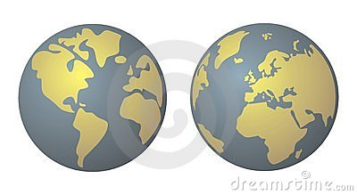 Planet Earth yellow and denim blue vector isolated