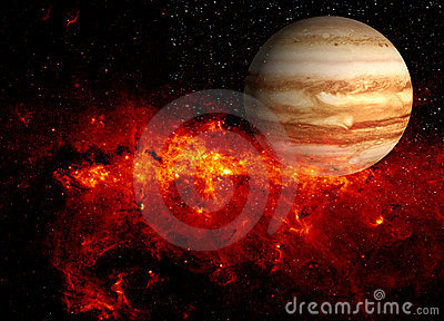 Planet and fiery supernova