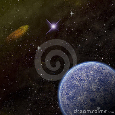 Planet and galaxy in space