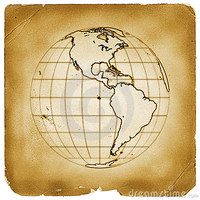 Planet globe earth old vintage paper