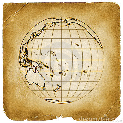 Planet globe earth old vintage paper