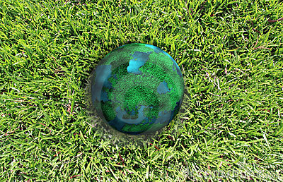 Planet and green grass