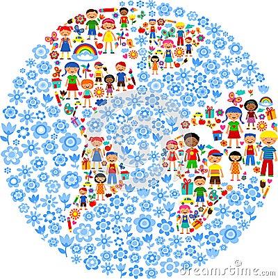 Planet of kids, colorful  illustration