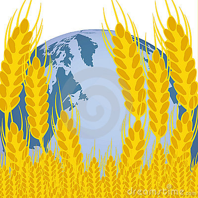 Planet land and ear of the wheat