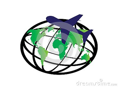 Planet map and plane around the world for logo design vector, globe icon, travel symbol Stock Photo