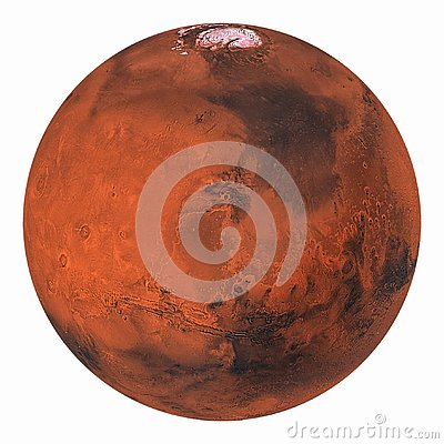Free Planet Mars With Polar Ice Isolated Royalty Free Stock Image - 138767026