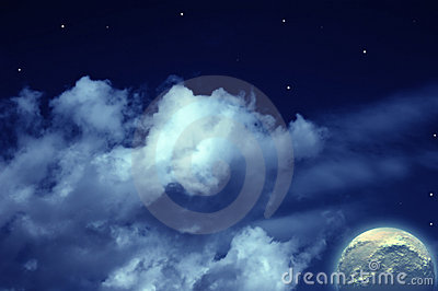 Planet,  moon and stars in  cloudy sky