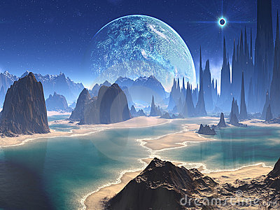 Planet Rise over Alien Beach World
