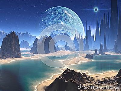 Planet Rise over Alien Beach World