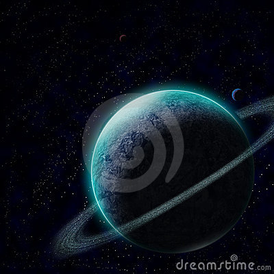 Planet with starry sky