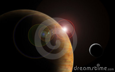 planet with sun flare in deep space