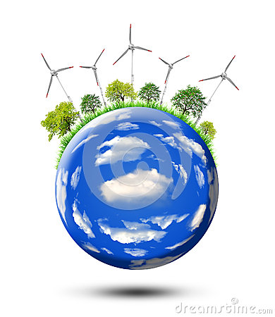 Planet with wind turbines