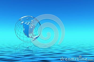 Planeta azul en agua