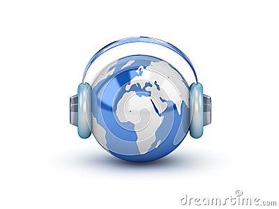 Planeta con los auriculares