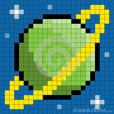 Planeta de 8 bits do pixel