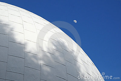 Planetarium roof with rising moon