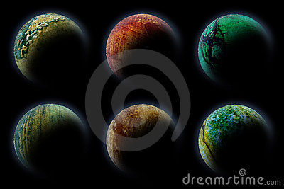 Planets in deep dark space.