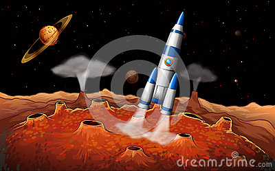 Planets and a spaceship at the outerspace