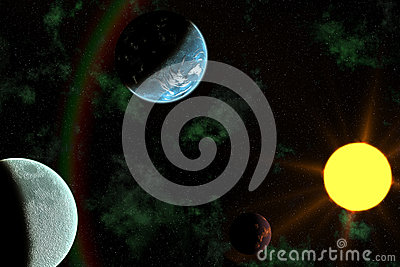 Planets with Sun Flare in Deep Space