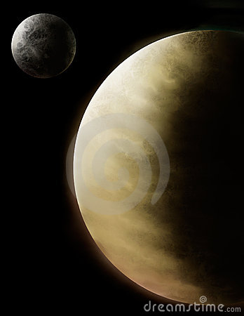 Planets Venus and Mercury Digital Art Illustration