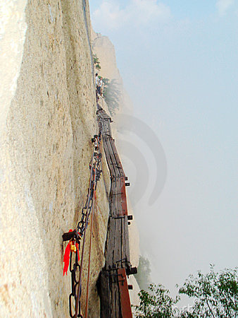 Plank path in Mount Hua in China Editorial Stock Photo