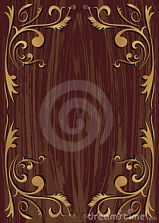 Plant element and wood texture background